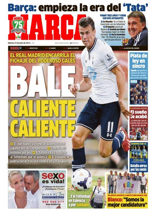 'Bale: Caliente, caliente' | La portada del 23 de julio de 2013