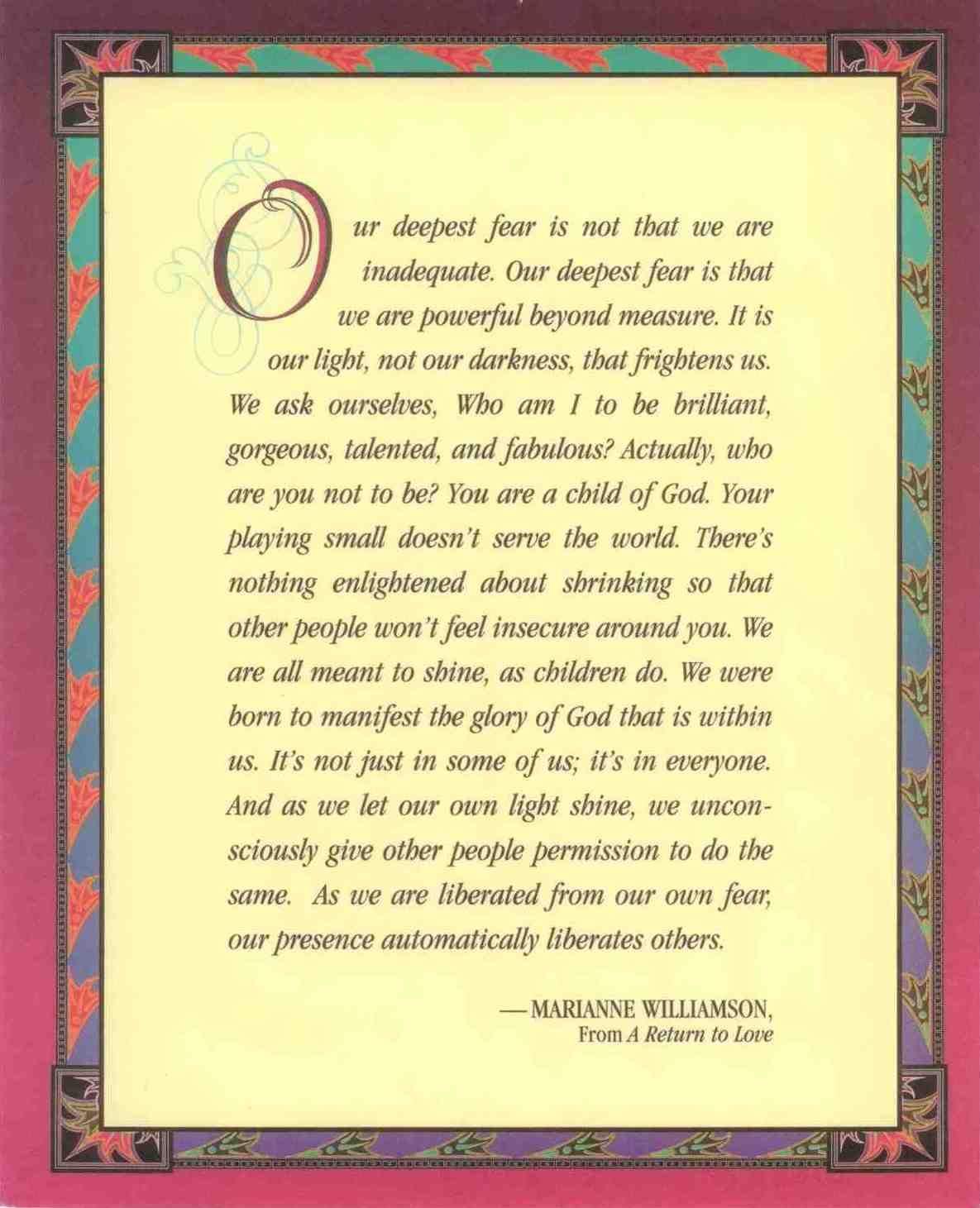 Our Deepest Fear -- Marianne Williamson   Faith & Spirituality ...