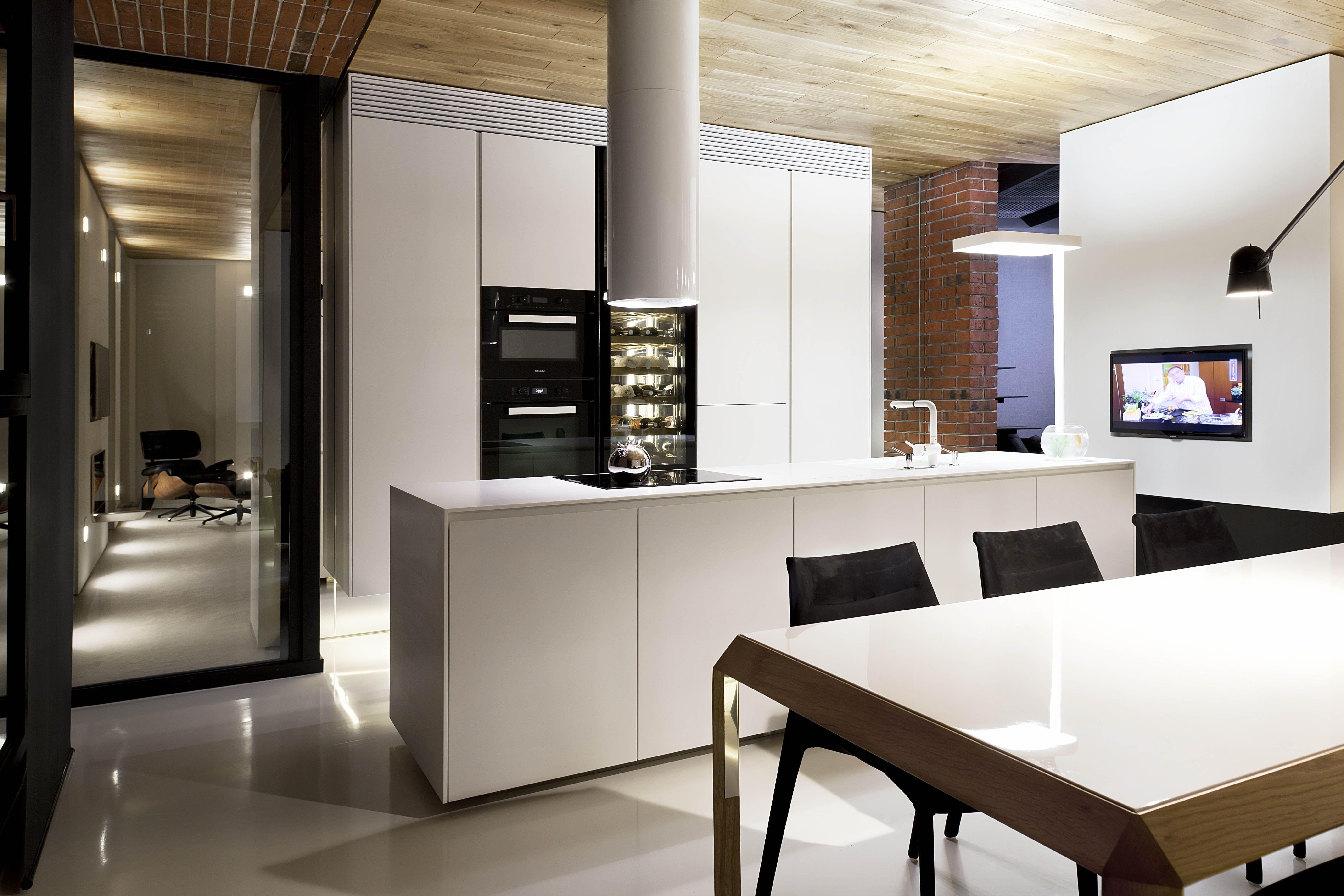 Luxury Modern Industrial Apartment Design. Sofia Bulgaria Red Apple  Building. Studio Mode Interior Design