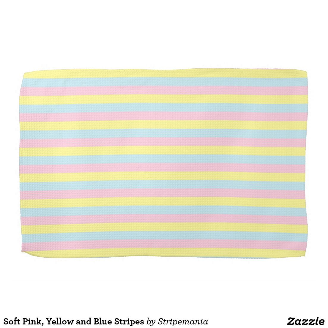 Soft Pink, Yellow and Blue Stripes Kitchen Towels #towel #kitchentowel #interiordesign