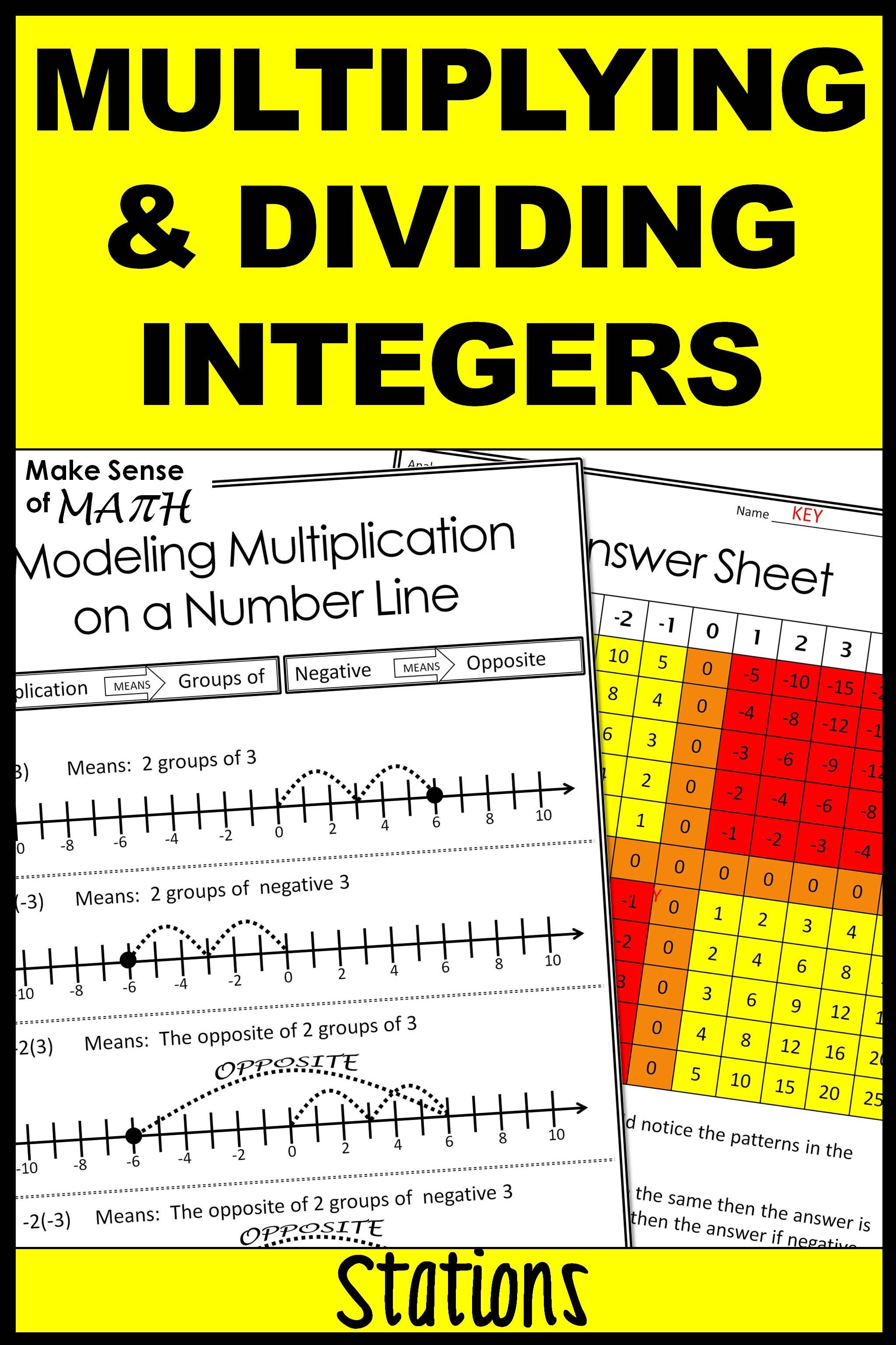 Multiplying And Dividing Integers Stations With Images