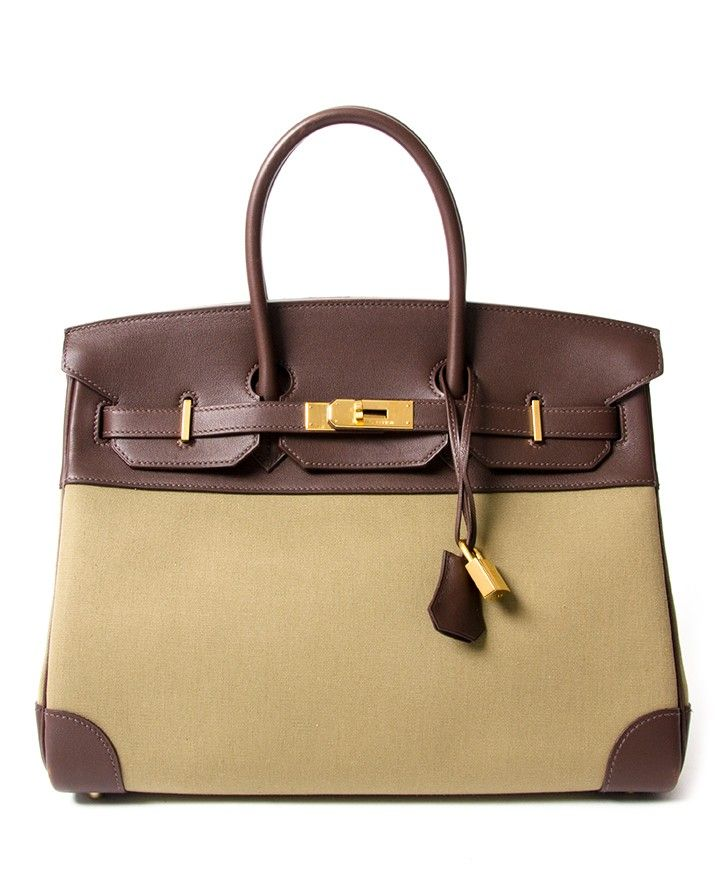 01acfbb87145 Hermès Bicolor Moss Toile   Brown Swift Leather Birkin bag 30 buy safe  online second hand designer Hermes Birkin best price online webshop labellov