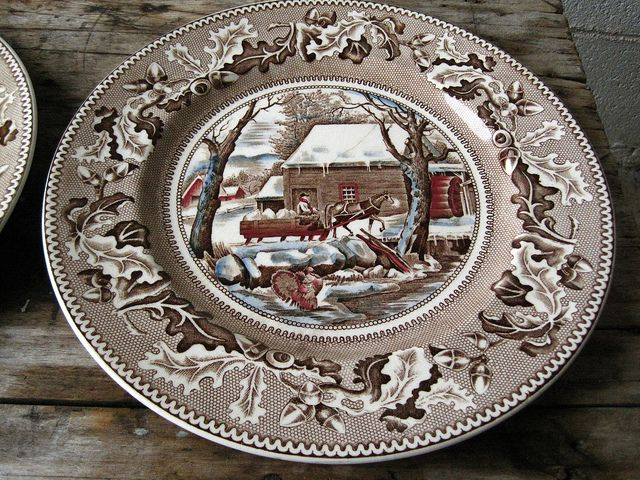 Johnson Bros. dinner plates thanksgiving historic america by American China, via Flickr