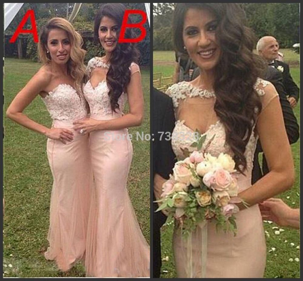 Vestido Mermaid Bridesmaid Dresses 2015 Pink Chiffon Vestidos De ...