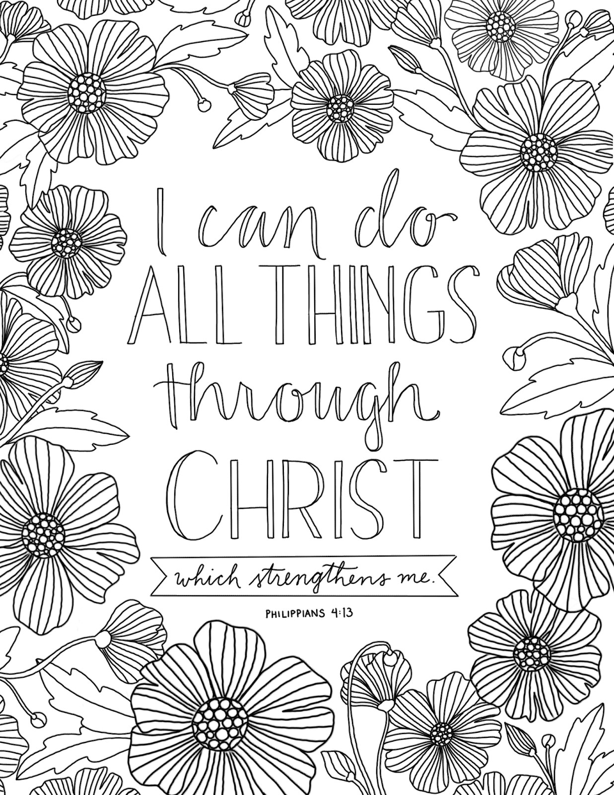 Coloring pages with bible verses - Just What I Squeeze In All Things Through Christ Coloring Page