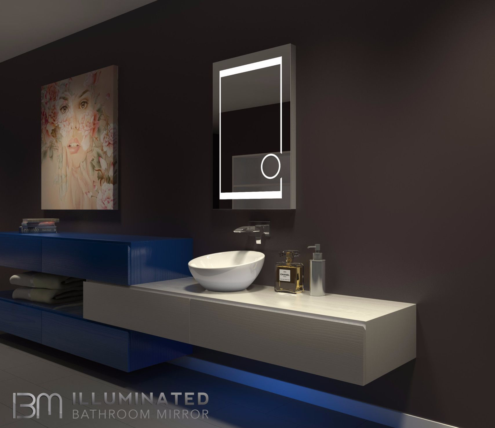 dimmable lighted mirror aurora 24 x 32 | more led mirror ideas
