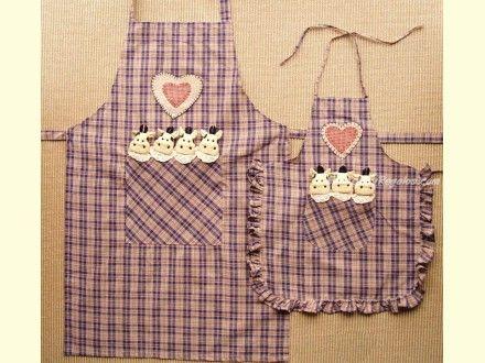 Delantal infantil algod n modelo vaca cuadros violeta cositas de cocina pinterest - Modelos de delantales de cocina ...