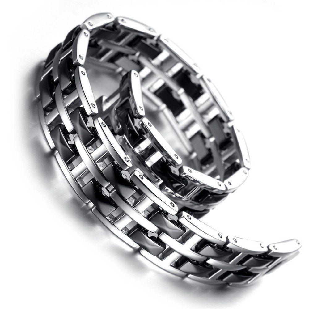 Mens Silver Tungsten Carbide Black Ceramic Tow Tone