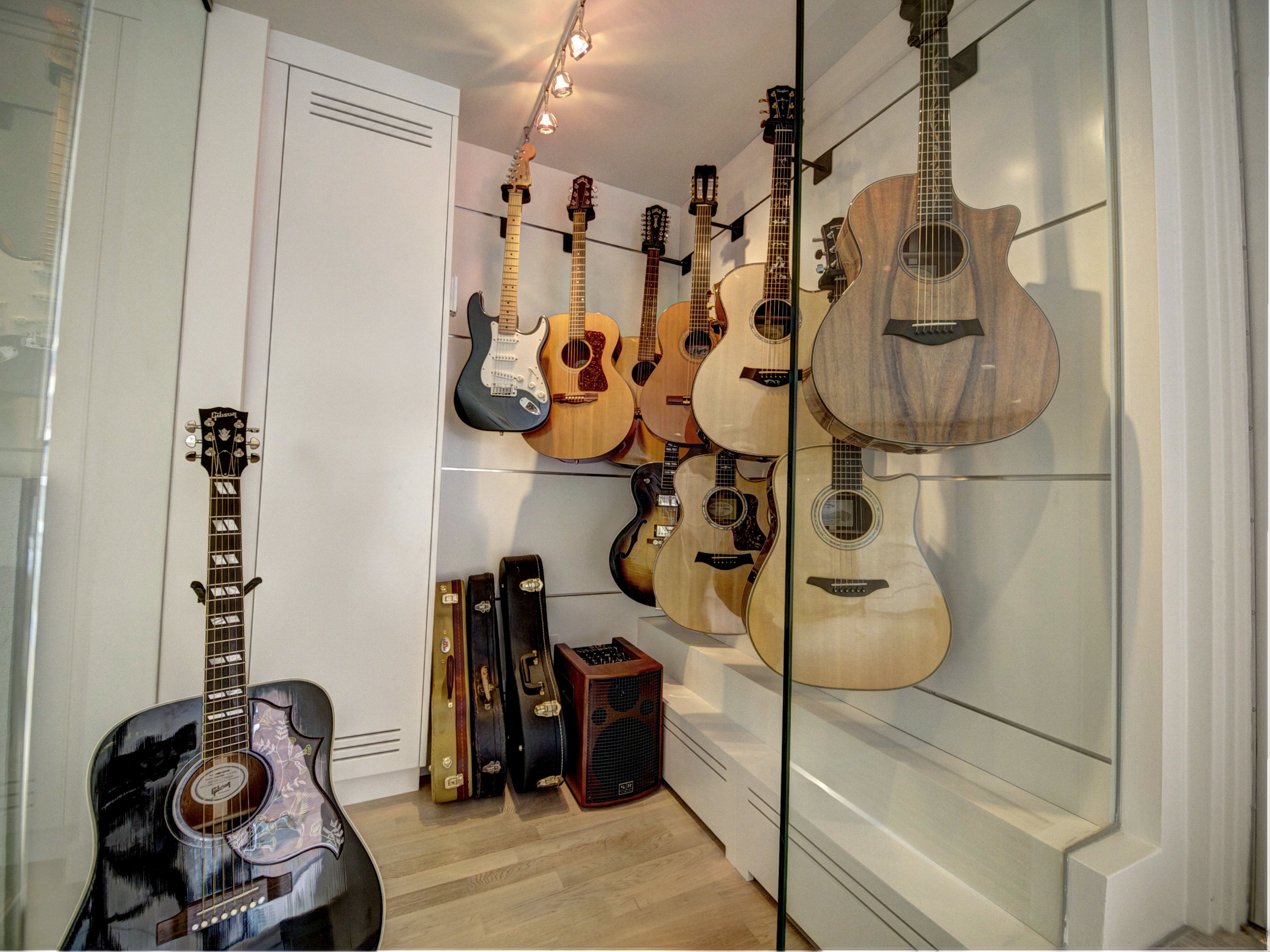 Stairs With Guitar Room In Background, 12mm Glass Panelling   Home Design    Pinterest   Guitar Room, Room And Guitar Wall