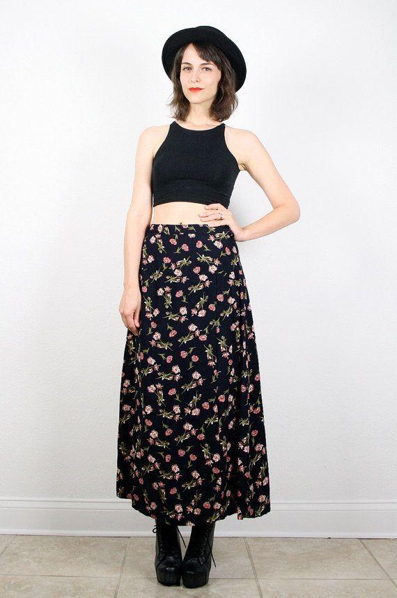 6a0ac2d6eb Vintage 90s Skirt Maxi | Fashion in 2019 | Fashion, Boho skirts ...