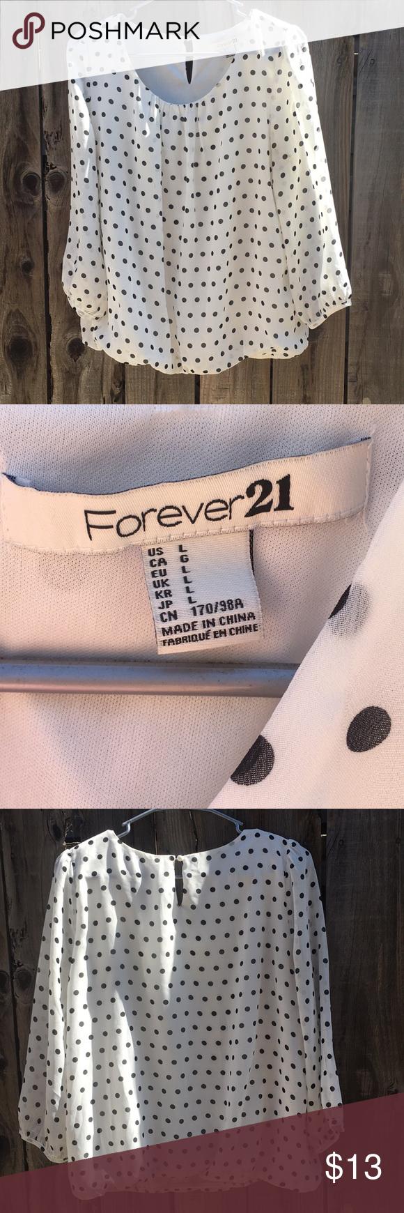 Forever 21 polka dot top White with black dots. Lined in white. Outer is  sheer. Arms are sheer with no lining. Between 1 2 and 3 4 sleeve depending  on arm ... 4828b8babf8f8