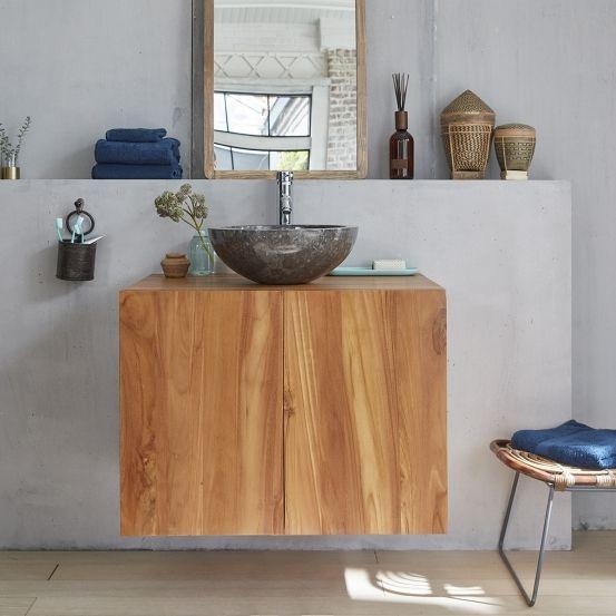 Meuble de salle de bain en bois de teck suspendu 80