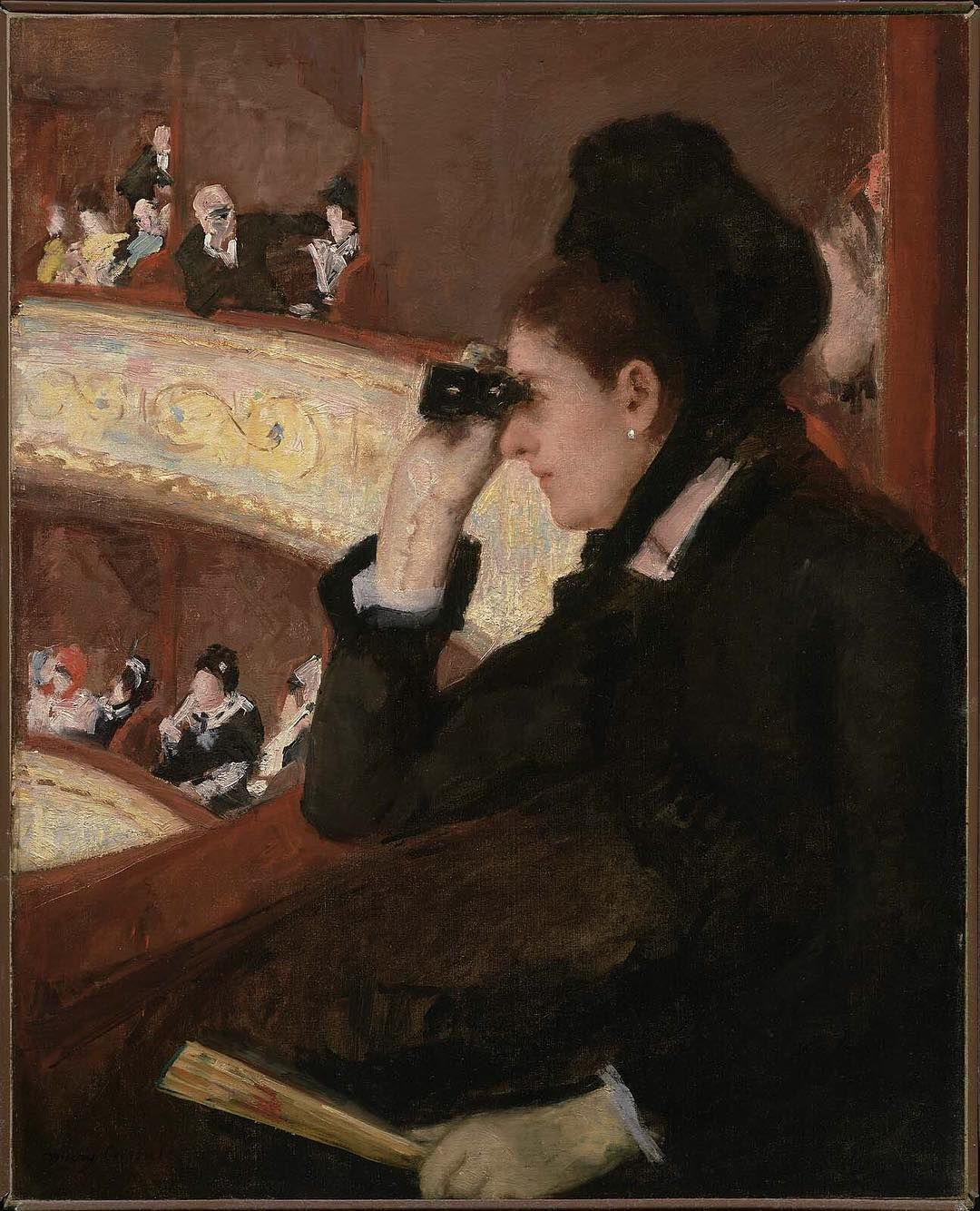 """In the Loge"" was the first of #MaryCassatt's #Impressionist paintings to be displayed in the United States. When it was shown in Boston in 1878, critics described the picture as ""striking,"" adding that Cassatt's painting ""surpassed the strength of most men."" The artist was born #onthisday in 1844."