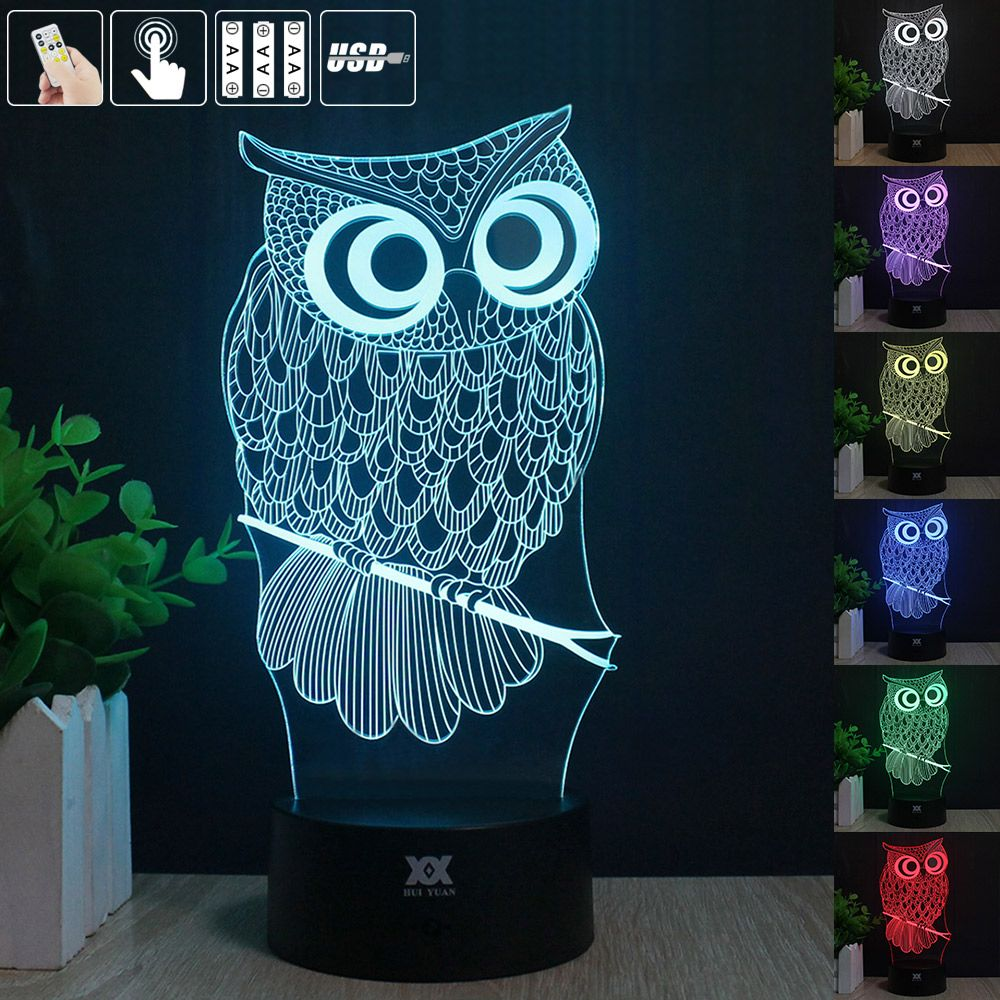 Night owl reading lamps - European Shipping Owl 3d Night Light Rgb Changeable Mood Lamp Led Light Dc 5v Usb Decorative