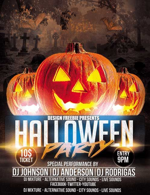 Free Awesome Halloween Party Flyer Template -    freepsdflyer - halloween party flyer