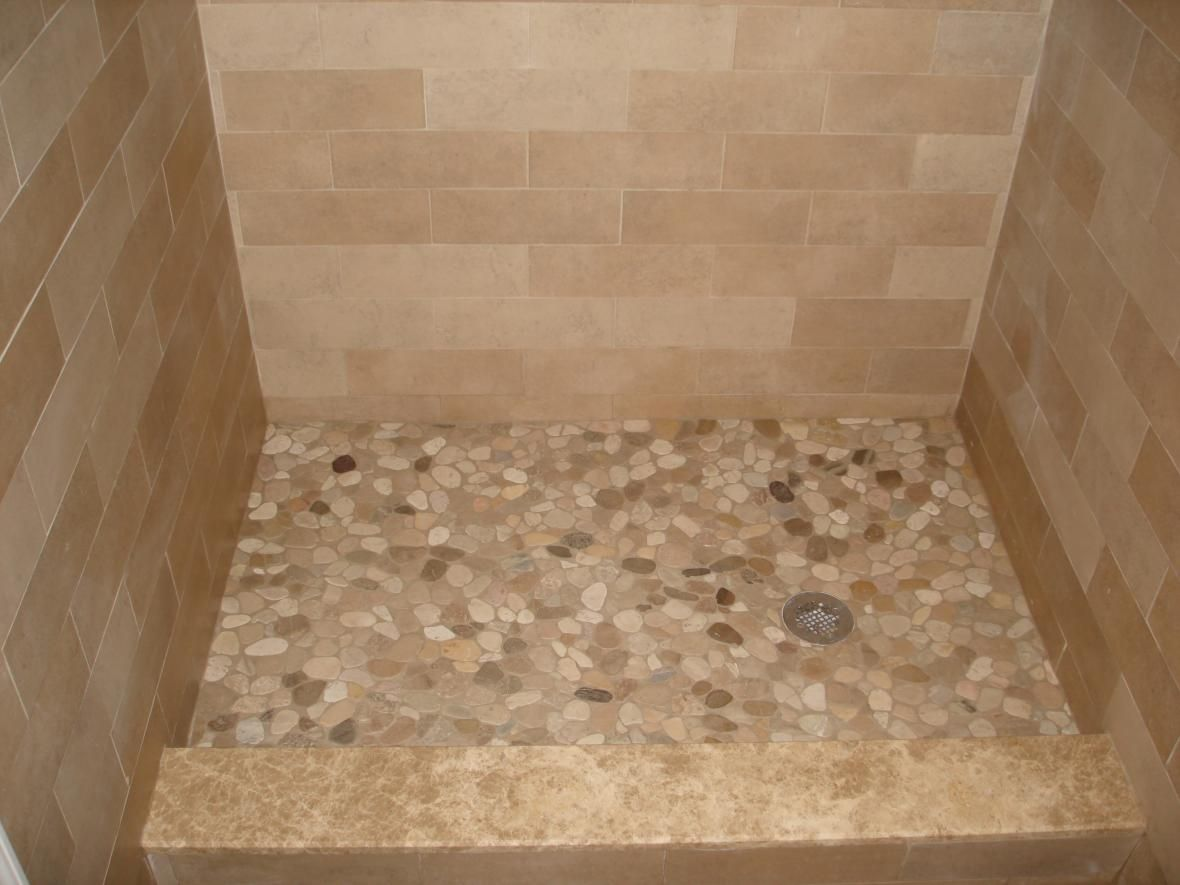 Pebble tiles for shower floor porcelain tile shower with for Tile shower floor ideas
