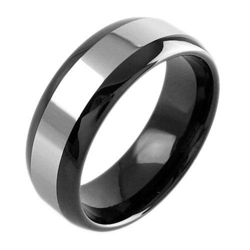 2 Tone Tungsten Wedding Band Set For Men And Women Black Silver Couple Ring Tungsten Wedding Band Sets Black Tungsten Rings Tungsten Wedding Bands