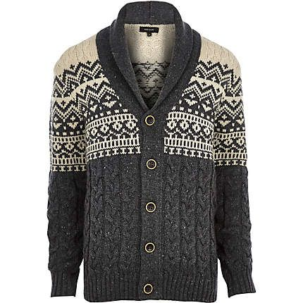 Ecru fair isle shawl collar cardigan $40.00 | Tops | Pinterest ...