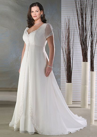 Flawless White Chiffon Simple V Neck Plus Size Wedding Gowns With Short Sleeves Z00519 115 00 Dresses Free Shipping