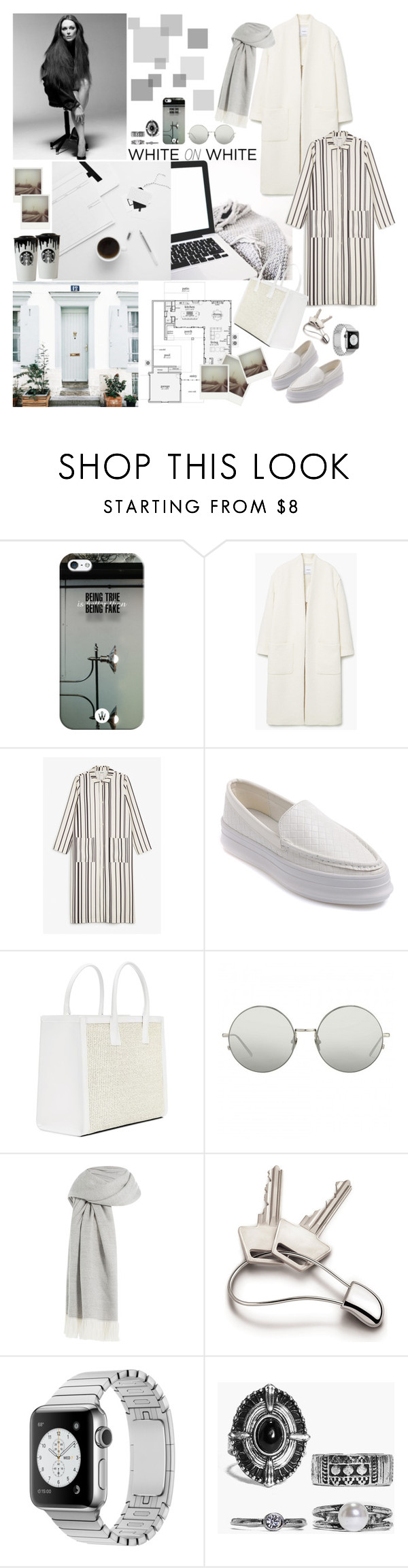 """WHITE oN white"" by mariettamyan ❤ liked on Polyvore featuring JULIANNE, Privé, Band of Outsiders, Casetify, Polaroid, MANGO, Monki, Linda Farrow, Agnona and Georg Jensen"