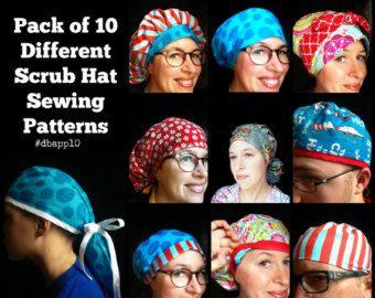 Scrub Hat Sewing Pattern Diy Reversible Lined Surgical Scrub Cap