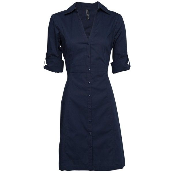 Mango Fitted Shirt Dress, Navy ( 38) found on Polyvore   Style  3 ... b20dec090591