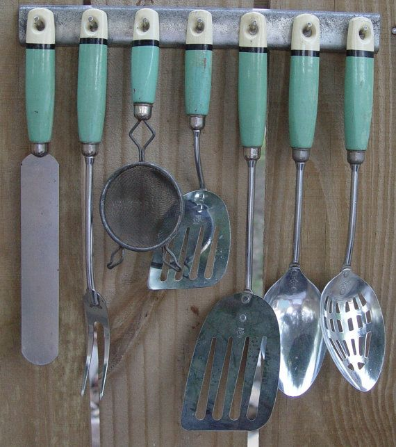 Fantastic 1940s Kitchen Utensils Wood Handles By