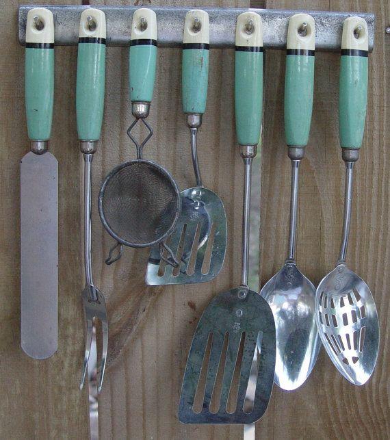 Fantastic 1940s Kitchen Utensils Wood Handles Jadite Green