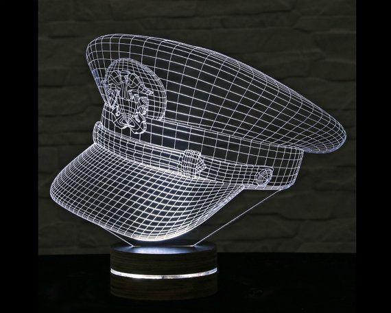 3d Led Lamp Police Cap Shape Decorative Lamp Home Decor Table Lamp Office Decor Plexiglass Art Art Deco Lamp Acrylic Ni 3d Led Lamp Led Lamp Lamp Decor