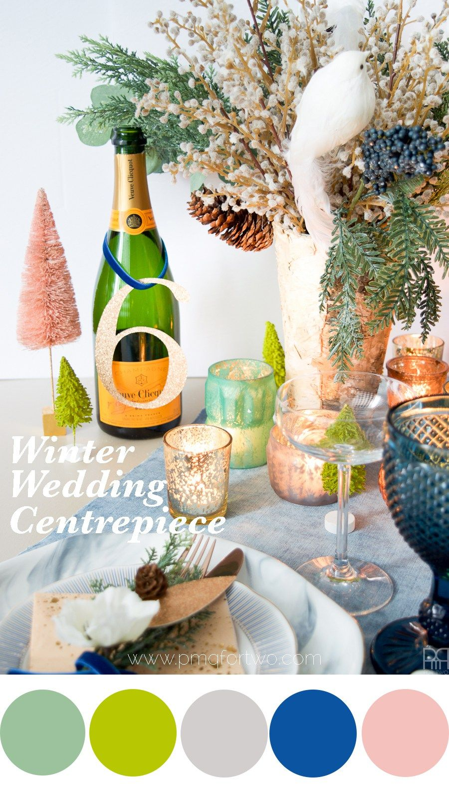 Winter wedding centrepiece tablescapes and table decor diys and