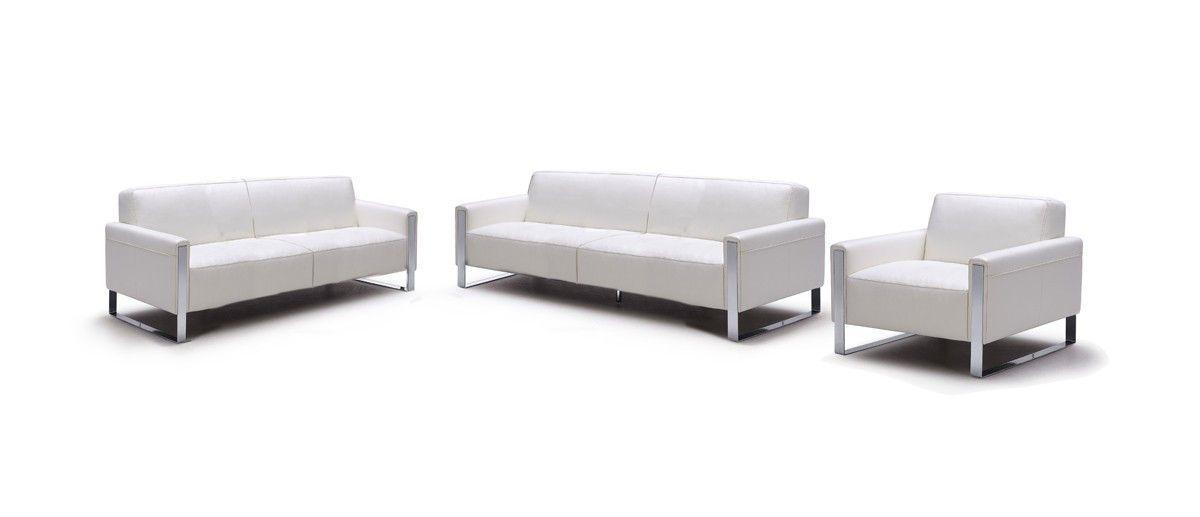 Divani Casa Iris Modern White Leather Sofa Set