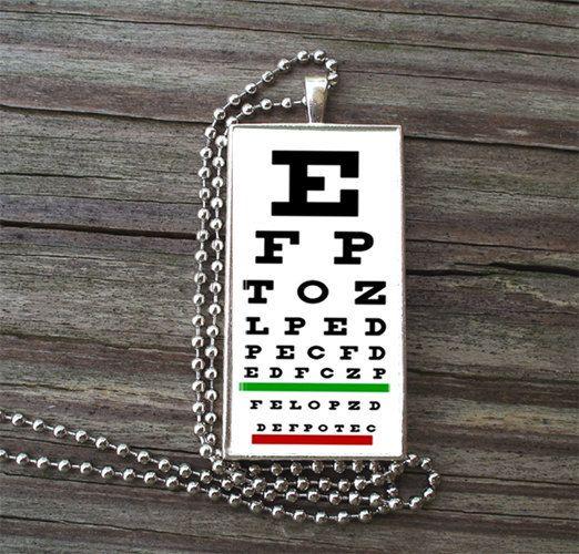 Snellen Medical Eye Chart Glass Tile Necklace Inside Metal