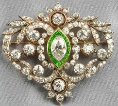 Brooch; Edwardian, Silver Mount Scrolling Mount, Marquise Cut Diamond, Diamond & Demantoid Garnet Accents.