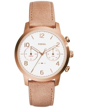 Fossil Women's Caiden Nude Leather Strap Watch 38mm ES4238 - Tan/Beige