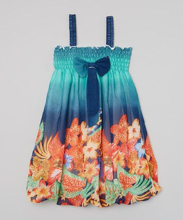 Look at this #zulilyfind! Royal & Teal Floral Babydoll Dress - Toddler & Girls by Wenchoice #zulilyfinds