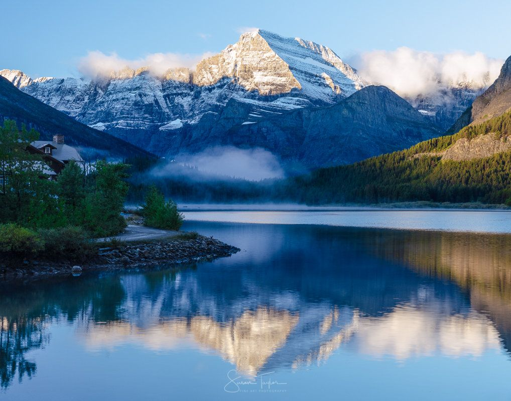 Rocky Mountain Glacier National Park Montana Photo Many Glacier Hotel Extra Large Nature Photography Fine Art Photo Swiftcurrent Lake Creativita Acqua