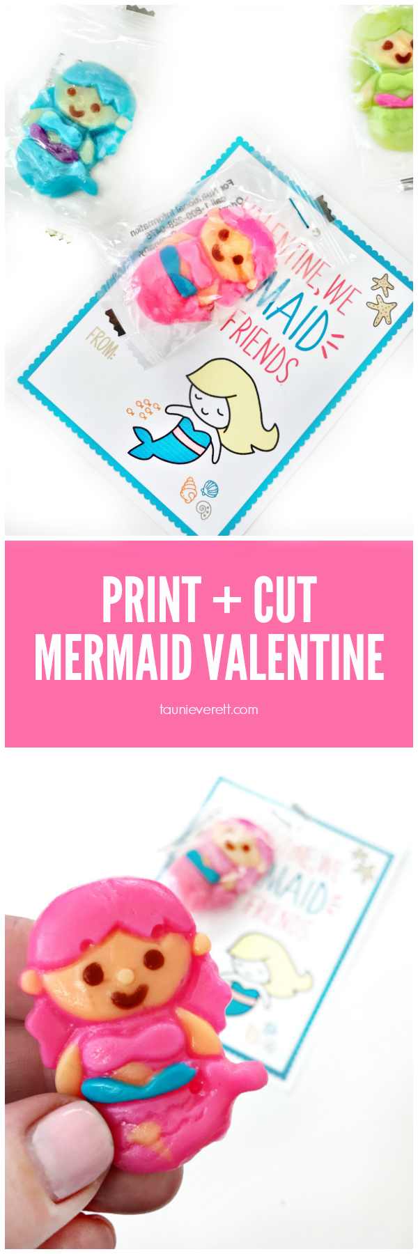 Print + Cut Mermaid Valentine Cards available for instant download #valentine #valentinecards #printable