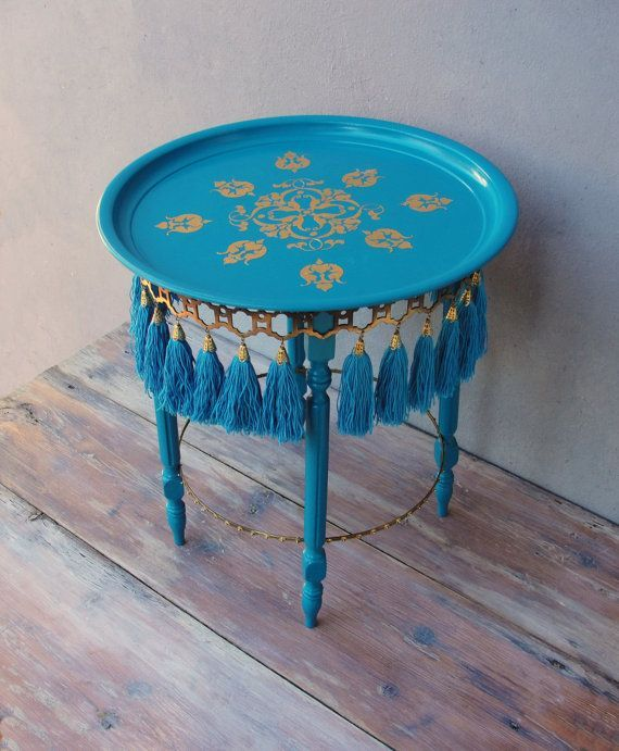 Oriental Tassel Side table, Bohemian End table with Tassels, Brass and Teal, Wooden Furniture, Handmade Furniture Sidetable