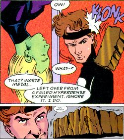 Invisible Kid invents the Legion flight rings. From Legion #64 (1995). Art by Lee Moder.