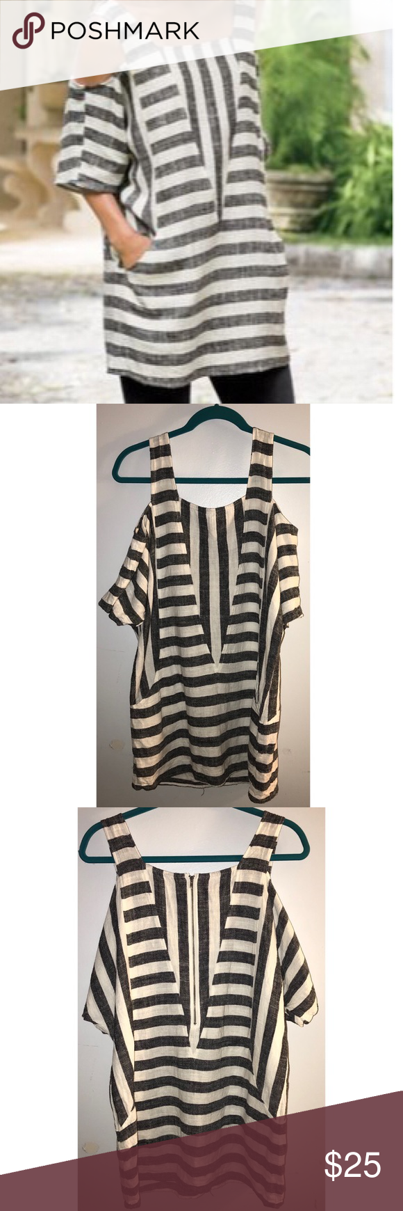 """Soft Surroundings striped cold shoulder top. Sz S White and black stripes. 52% Rayon 48% Linen. Feels like a Linen Top. Cold shoulder. HAS POCKETS! Zipper half way down the back. Size small which according to Soft Surroundings website fits a 6-8.  Measurements - laying flat: Bust - this style is sort of a dolman sleeve so I measured across the bust - 22"""" Length from top of shoulder down - 30"""" Soft Surroundings Tops"""