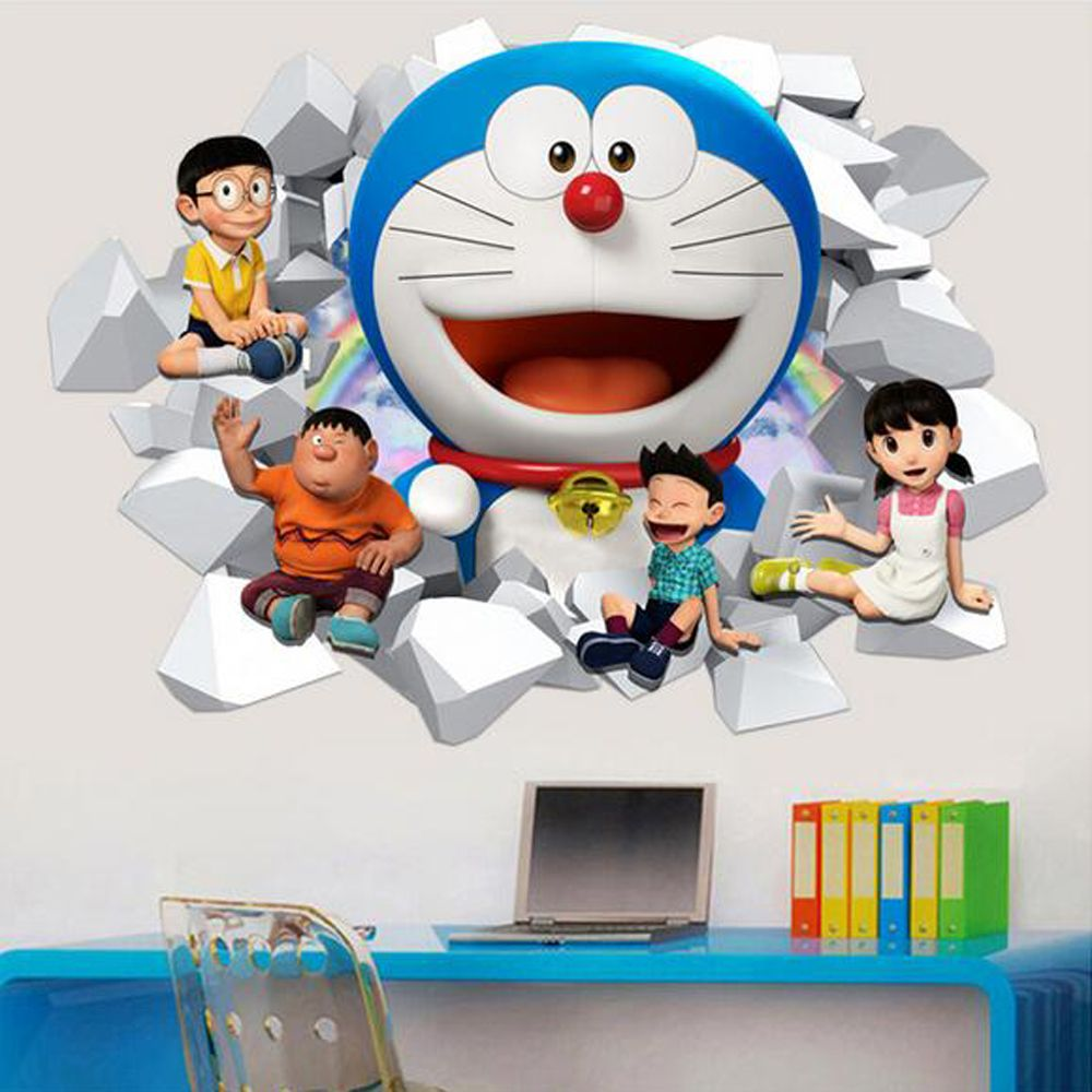 Doraemon Wall Sticker 3d Removable Pvc Cartoon Wall Decals For