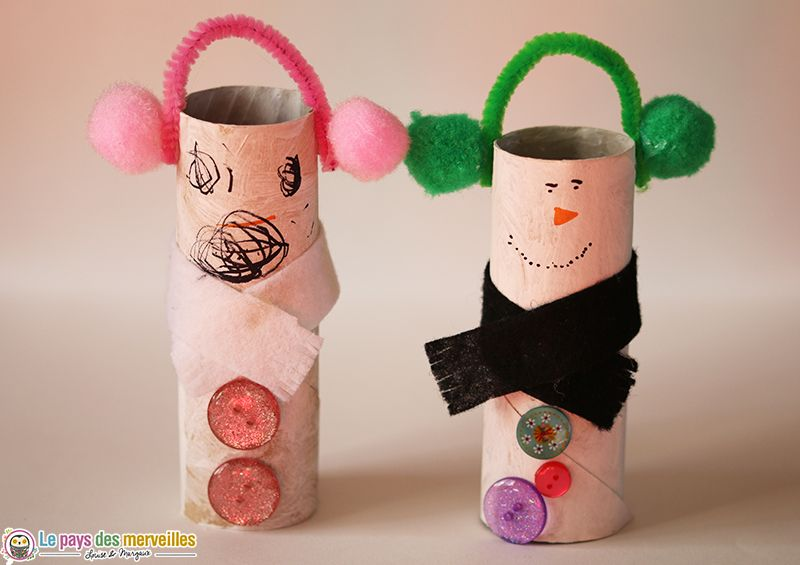 Bonhomme de neige en rouleau de papier toilette bricolage d 39 hiver rouleaux de papier - Bonhomme de neige en papier ...