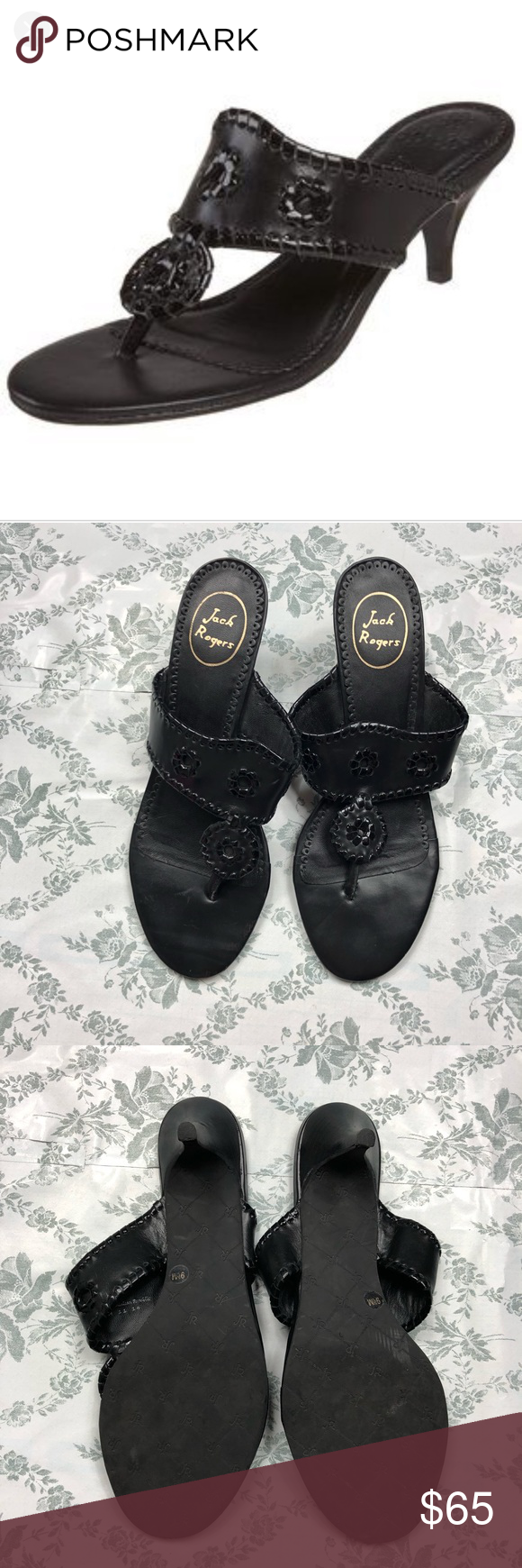 Jack Rogers Kitten Heel Maggie Black Sz 9 5 Kitten Heels Jack Rogers Shoes Black