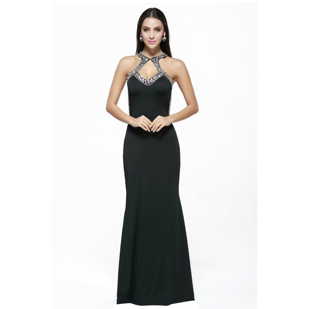 Welove long fitted evening gown open back prom dress with