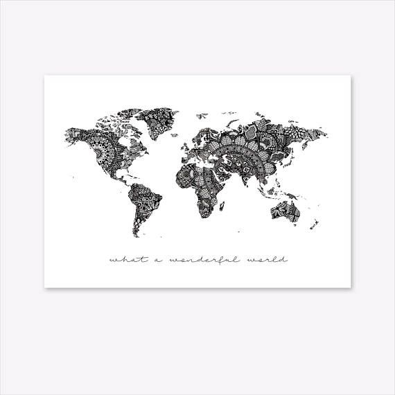 World map wall art mandala print world globe world map poster mandala world map custom print quote zentangle zendoodle poster travel gift wanderlust personalised coordinates name black white monochrome gumiabroncs Gallery