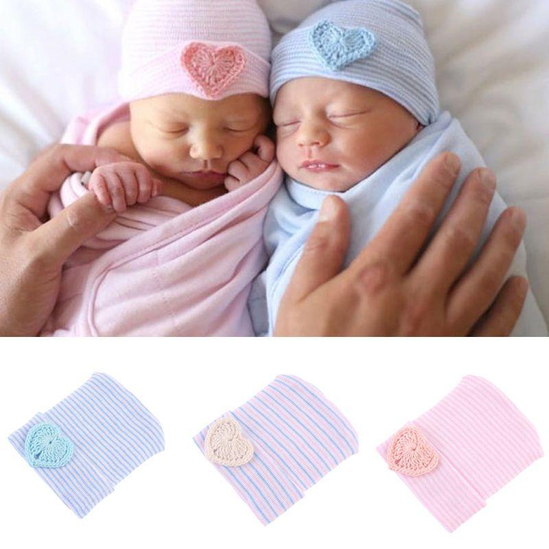 Newborn Girl Boys Winter Soft Caps Bowknot Knit Striped Bowknot Beanie Cute Hats