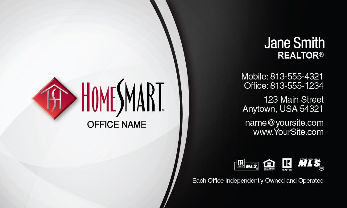 Black and White HomeSmart Real Estate Business Card