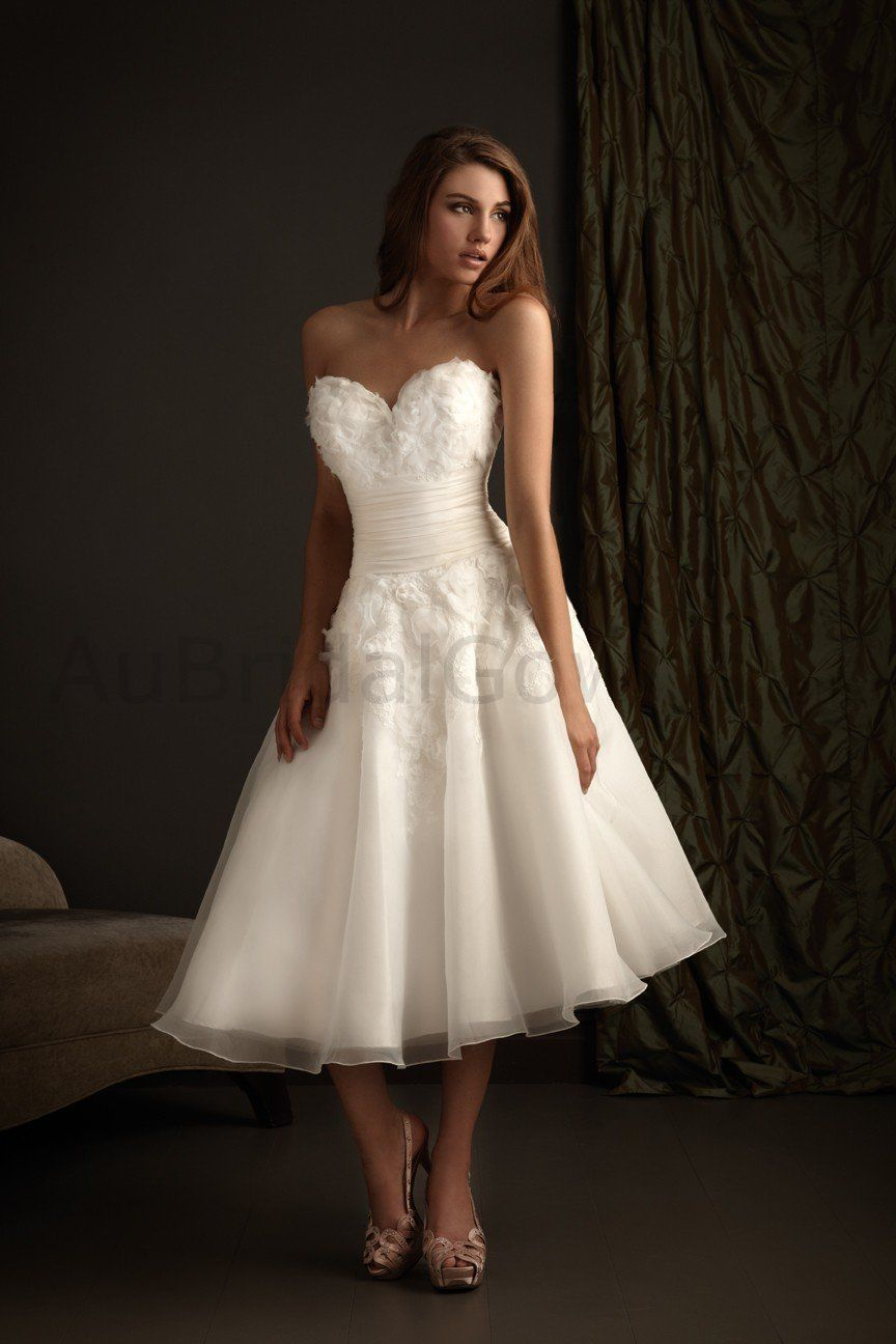Organza Sweetheart Fitted Bodice tea-Length Beach Wedding Dress ...