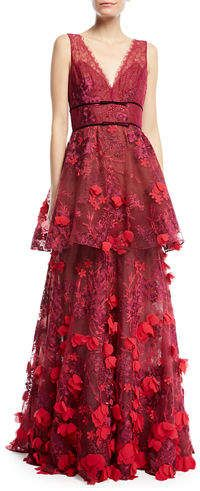 707e54b877 Affiliated #Ballgown #Gown #Red Marchesa Notte Two-Tiered 3D Floral ...