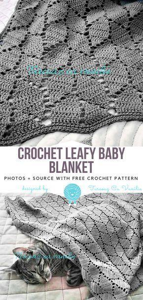 Crochet Leafy Baby Blanket Free Pattern #babyblanket
